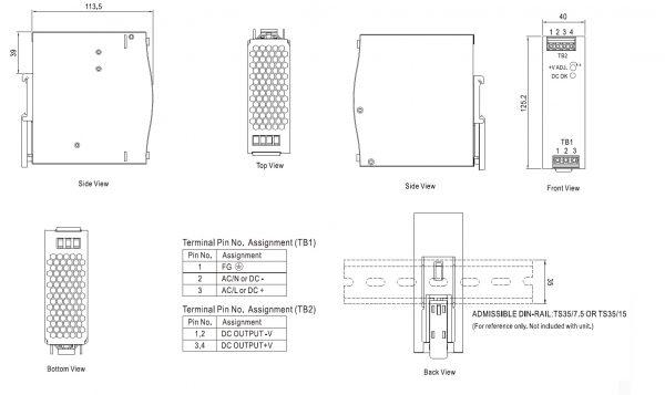 مشخصات مکانیکی EDR-120-48