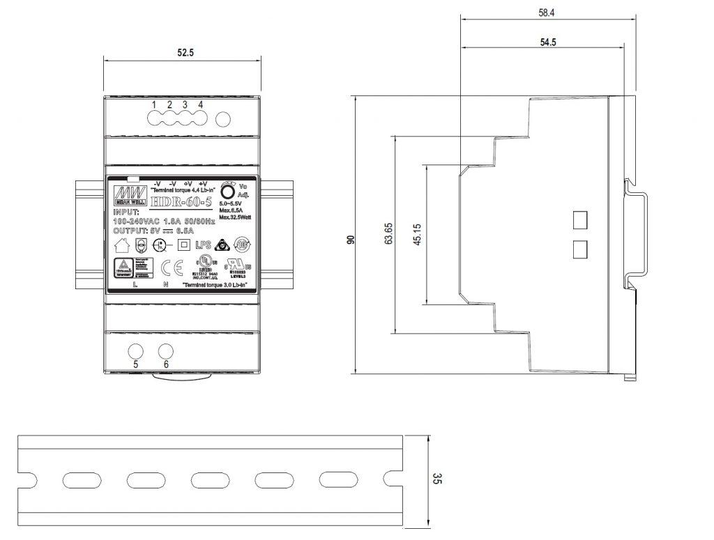 مشخصات مکانیکی HDR-60-12