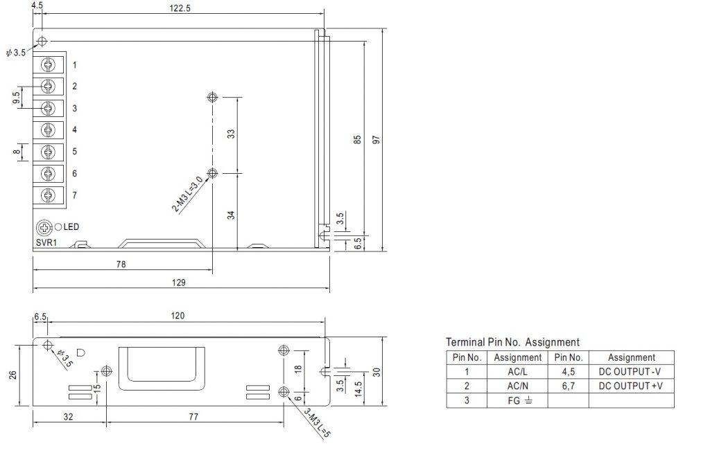 مشخصات مکانیکی LRS-100-24