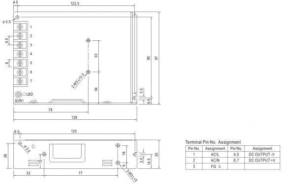 مشخصات مکانیکی LRS-100-12