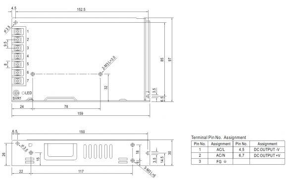 مشخصات مکانیکی LRS-150-48