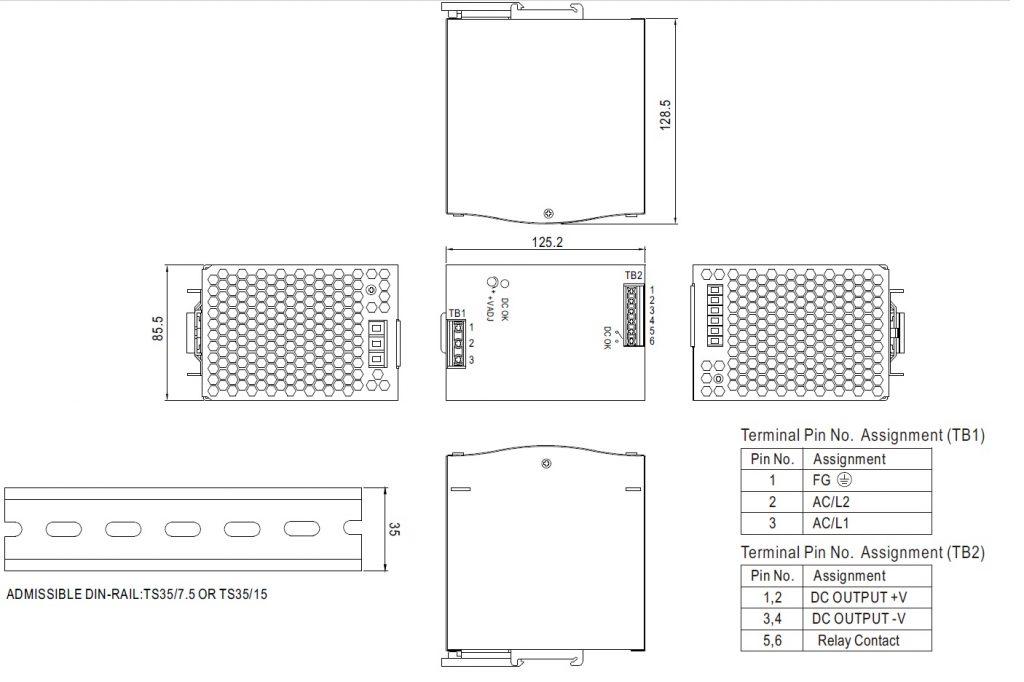 مشخصات مکانیکی WDR-480-24