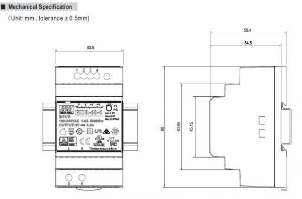 مشخصات مکانیکی HDR-60-24