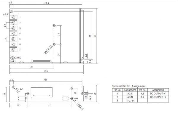 مشخصات مکانیکی LRS-100-48