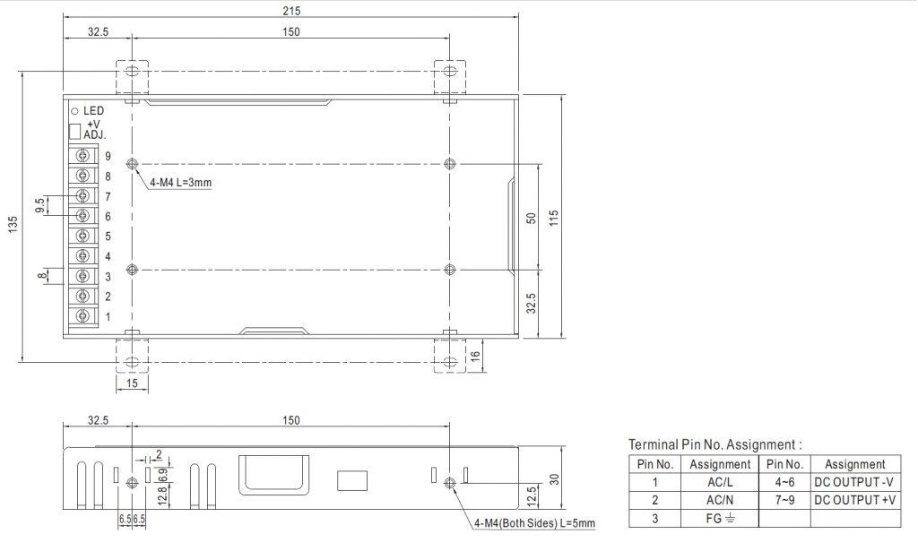 مشخصات مکانیکی LRS-200-12