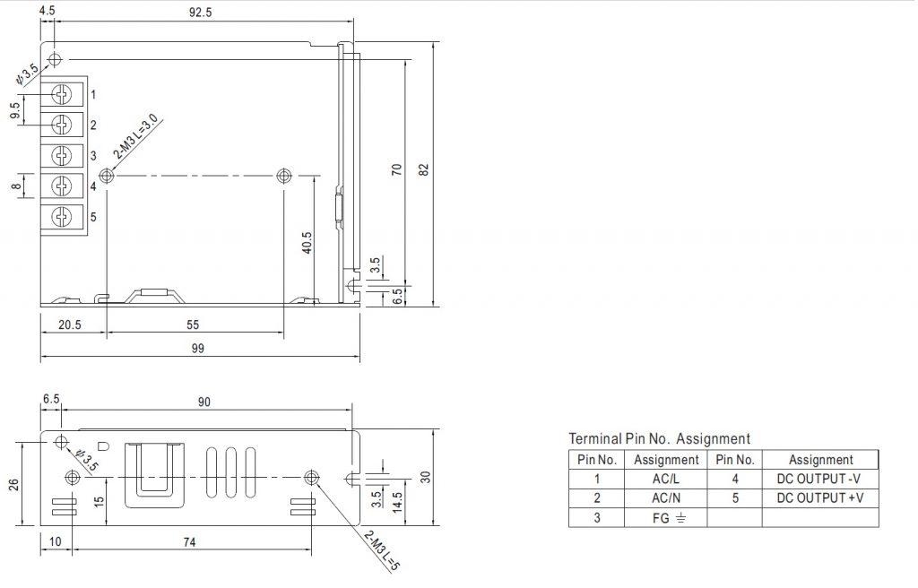 مشخصات مکانیکی LRS-35-12