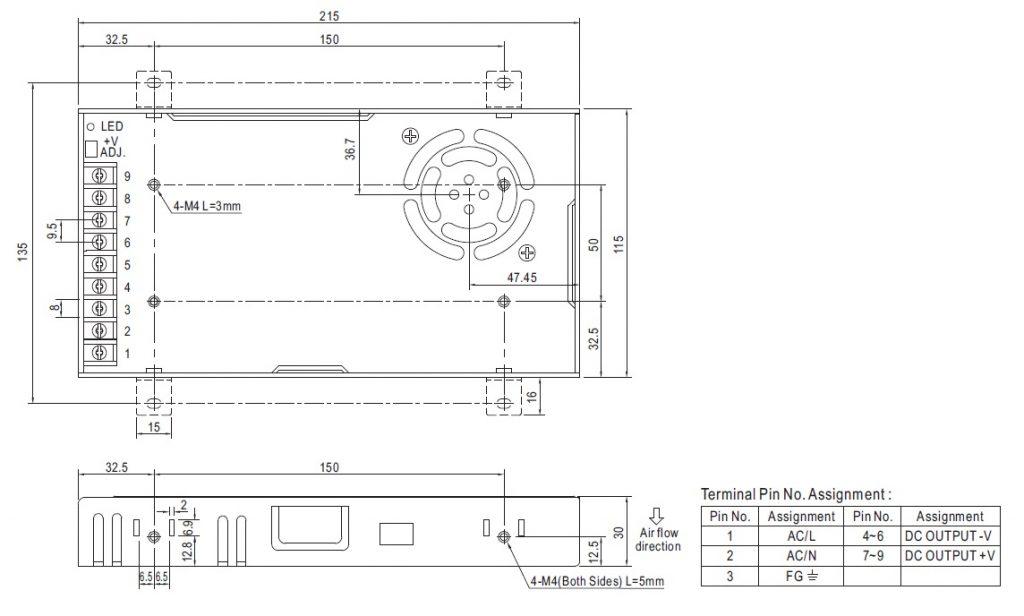 مشخصات مکانیکی LRS-350- 48