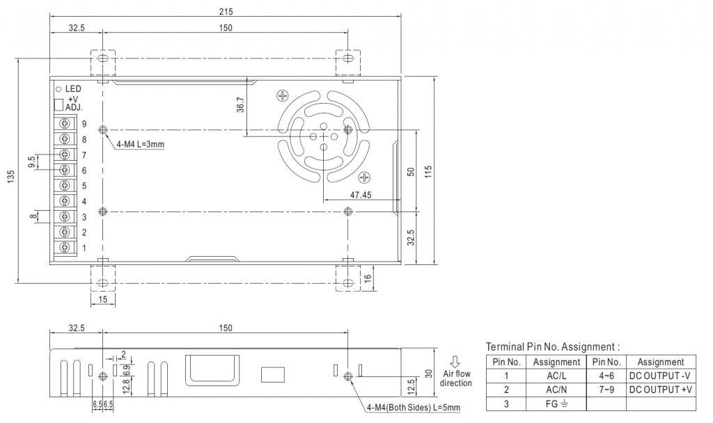 مشخصات مکانیکی LRS-350-24
