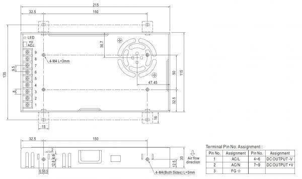 مشخصات مکانیکی LRS-350-12