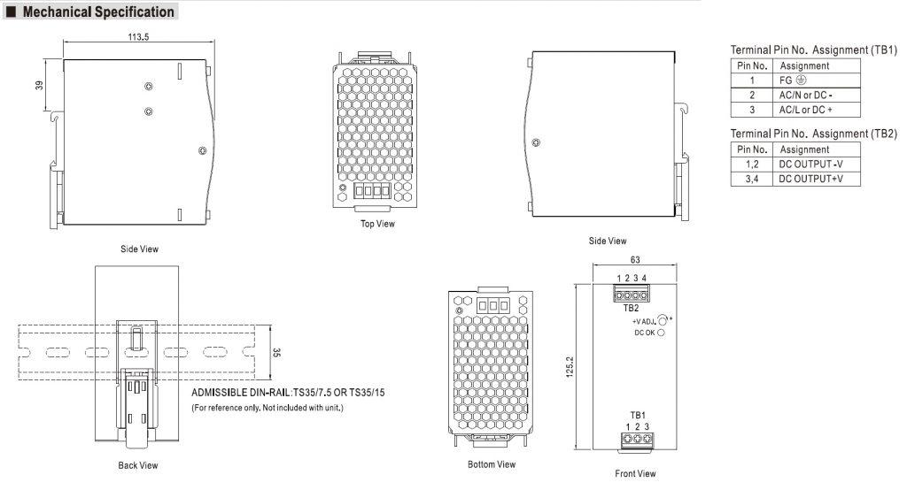مشخصات مکانیکی NDR-240-24