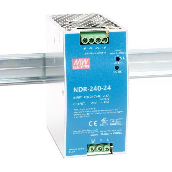 منبع تغذیه 24 ولت 10 امپر مین ول (NDR-240-24)