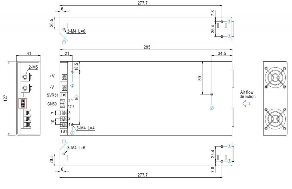 مشخصات مکانیکی RSP-1000-48