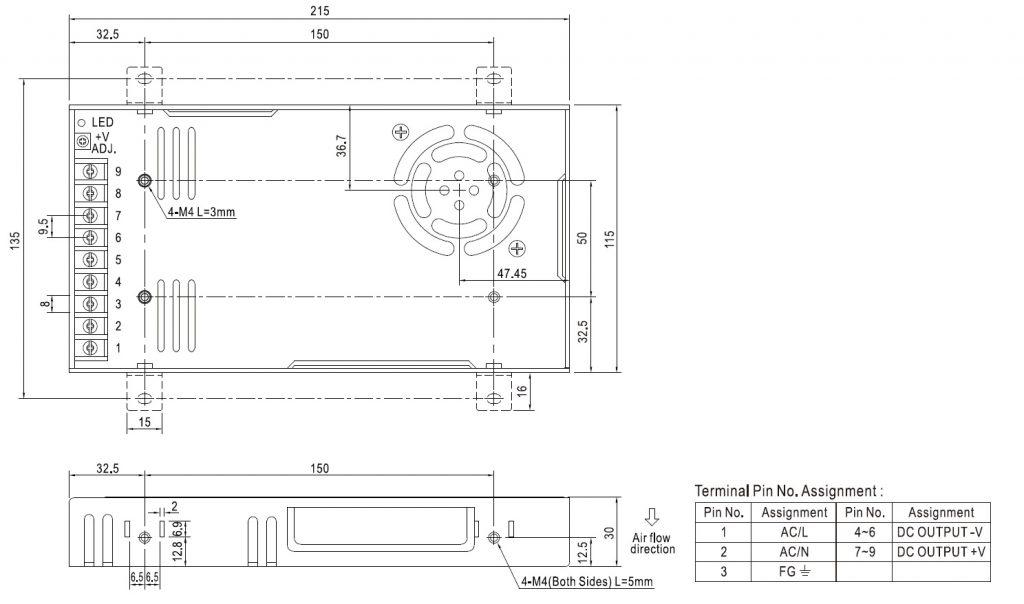 مشخصات مکانیکی RSP-320-24