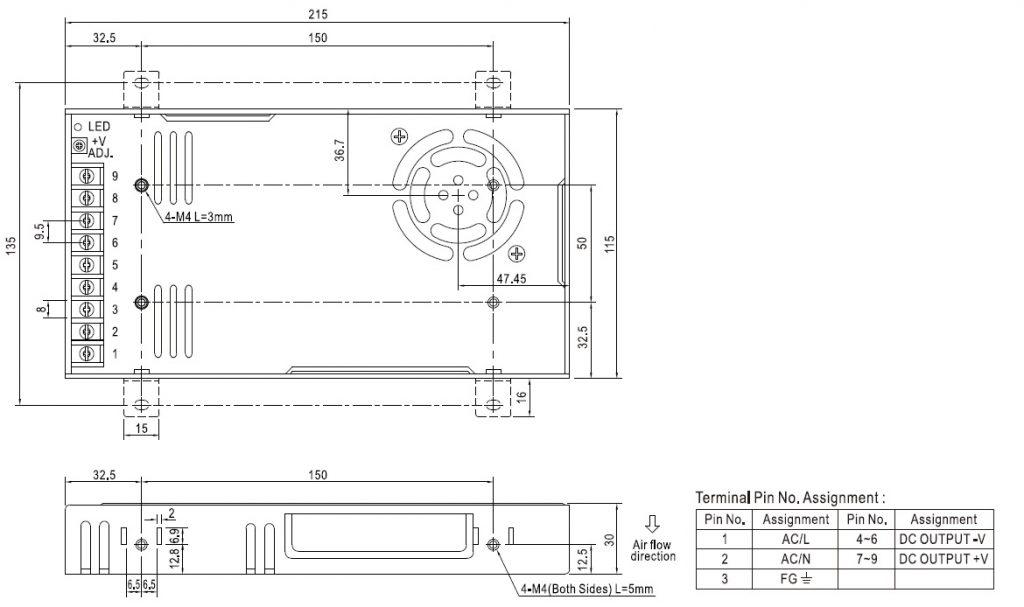 مشخصات مکانیکی RSP-320-48