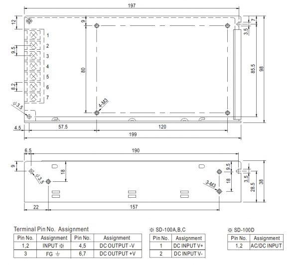مشخصات مکانیکی SD-100B-24