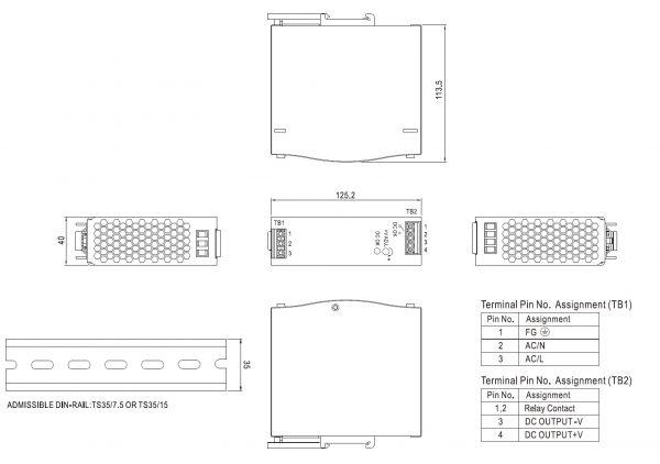 مشخصات مکانیکی SDR-120-24