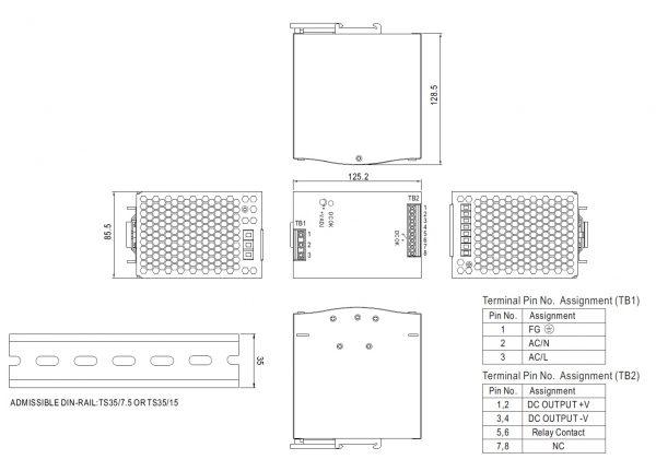 مشخصات مکانیکی SDR-480-24