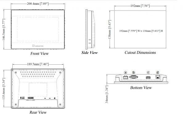 مشخصات مکانیکی MT8071IP