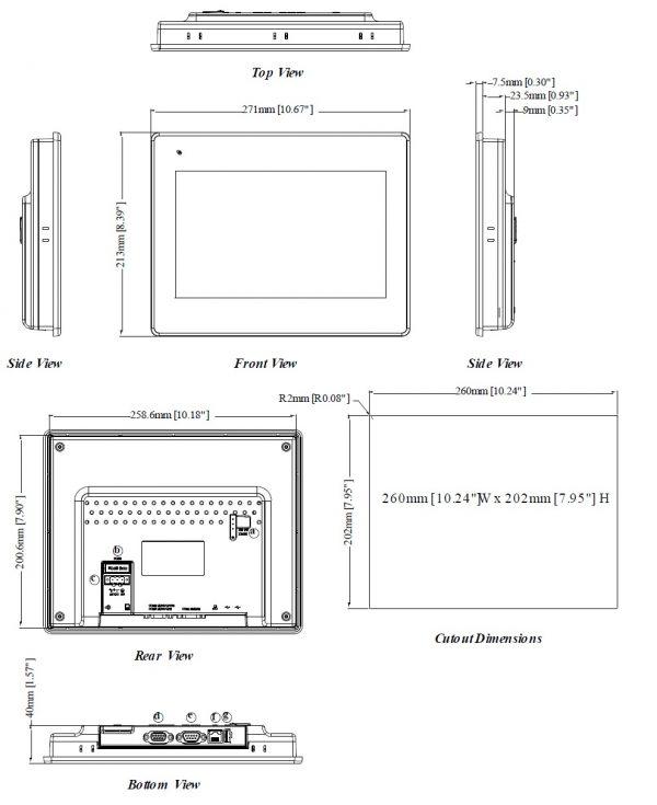 مشخصات مکانیکی MT8100
