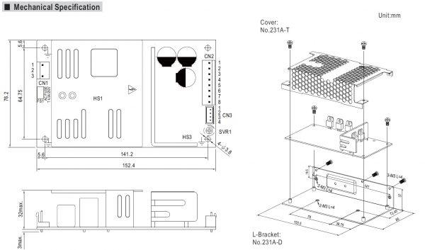 مشخصات مکانیکی PSC-160
