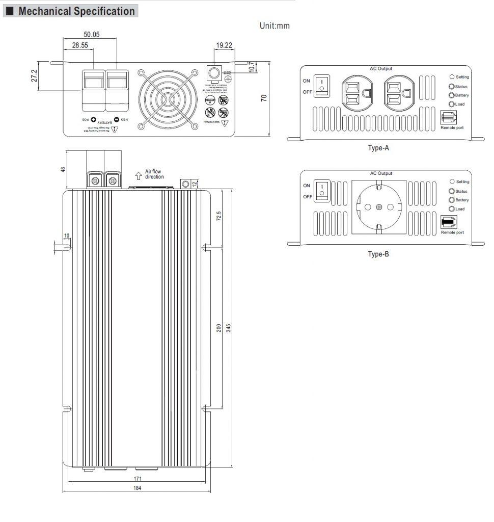 مشخصات مکانیکی TS-1000