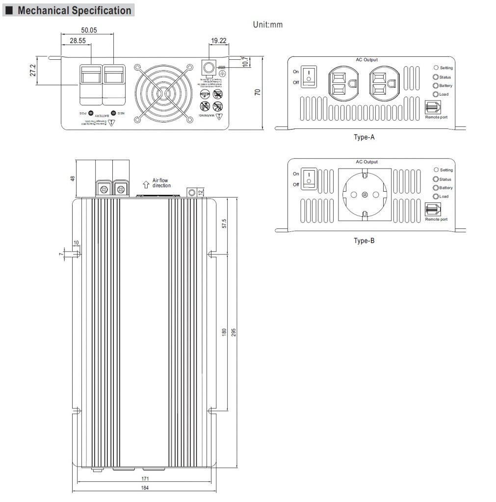 مشخصات مکانیکی TS-700
